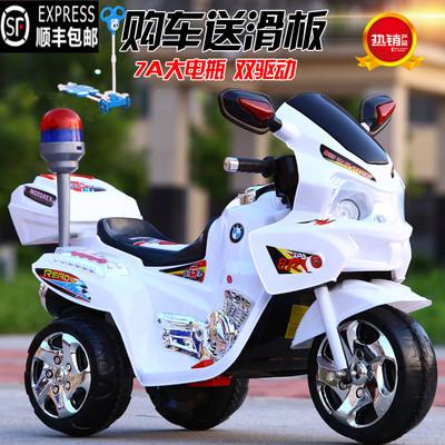 新款儿童电动摩托车三轮车大号警车男女童车宝宝可坐玩具车电瓶车