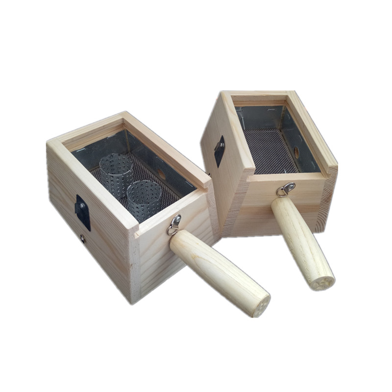 实木艾灸盒木制双柱双针艾灸盒2孔双孔插针艾条温灸器艾绒盒包邮
