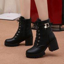正品牌子秋冬女靴羊反皮尖头矮筒短靴尖头粗高跟侧拉链网红同款