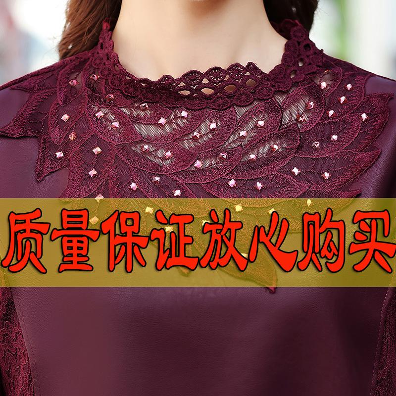 妈妈装秋冬长袖连衣裙40岁中老年女装高贵气质加绒蕾丝打底裙子50