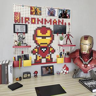 饰漫威周边钢铁侠搁板 墙上免打孔像素洞洞板收纳置物架儿童创意装