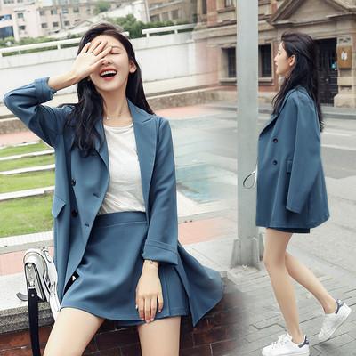 小西装套装女2018春秋季新款时尚两件套长袖休闲职业chic西服外套