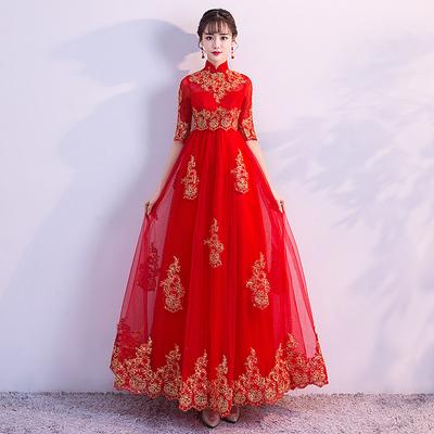 敬酒服新娘长袖2018新款秋冬季高腰红色结婚礼服孕妇大码遮肚长款