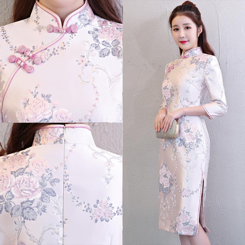 粉色长旗袍