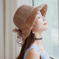 春夏韩版绸缎大蝴蝶结棉麻遮阳帽子女夏沙滩大檐帽可折叠太阳帽