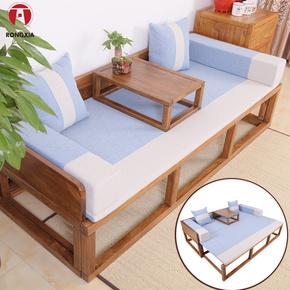新中式伸缩罗汉床实木中式榫卯老榆木家具多功能双人床推拉罗汉榻