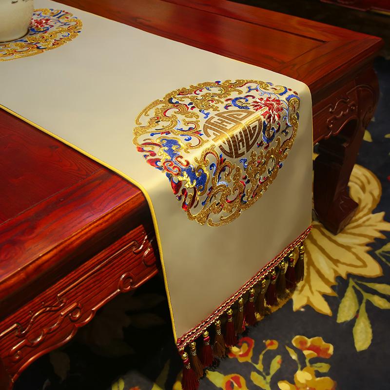 新中式桌旗 红木客厅桌布古典绣花餐桌电视柜茶几布艺床旗定制