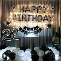 Adult birthday party decoration letter aluminum balloon birthday party arrangement supplies package romantic balloon decoration
