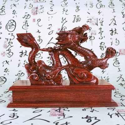 木雕龙摆件 实木雕刻十二生肖神龙风水 红木盛世腾龙木质中国龙