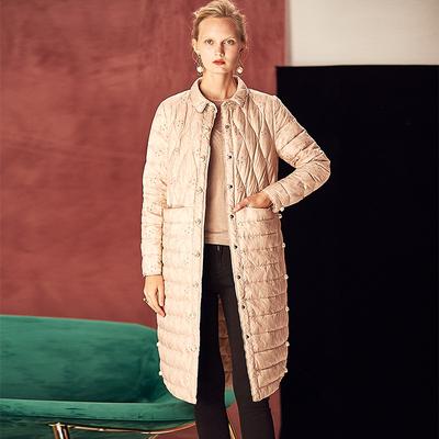 欧美2018冬季新款白鹅绒羽绒服女中长款单排扣气质修身外套女装潮