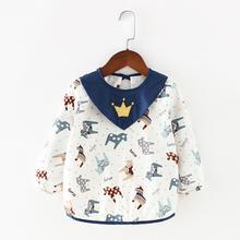 春秋宝宝罩衣纯棉女孩防水吃饭衣男童围裙反穿衣长袖薄款婴儿围兜