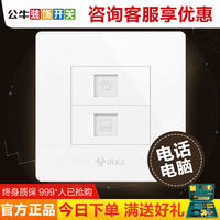 Bull decorative switch socket panel phone computer socket panel type 86 concealed double hole wall outlet