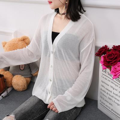 2018新款宽松韩版夏装女款冰丝针织衫夏季V领空调防晒毛衣外套女