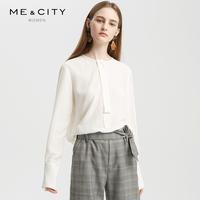 真丝MECITY女装2018冬季新款简约chic飘带长袖衬衫