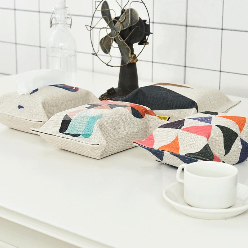 彩色三角系列棉麻布艺简约纸巾盒家用抽纸套纸巾套卫生间餐桌手纸