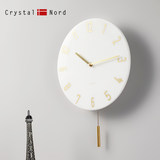 Crystal Nord white marble swing mute wall clock luxury round high-end wall clock creative Chinese style