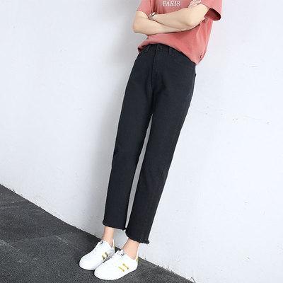 黑色直筒牛仔裤春秋季裤子女韩版bf百搭2018新款学生阔腿宽松显瘦