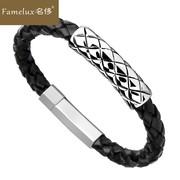Famelux名侈手链男女士新款黑色牛皮手串编织钛钢饰品朋克风T812