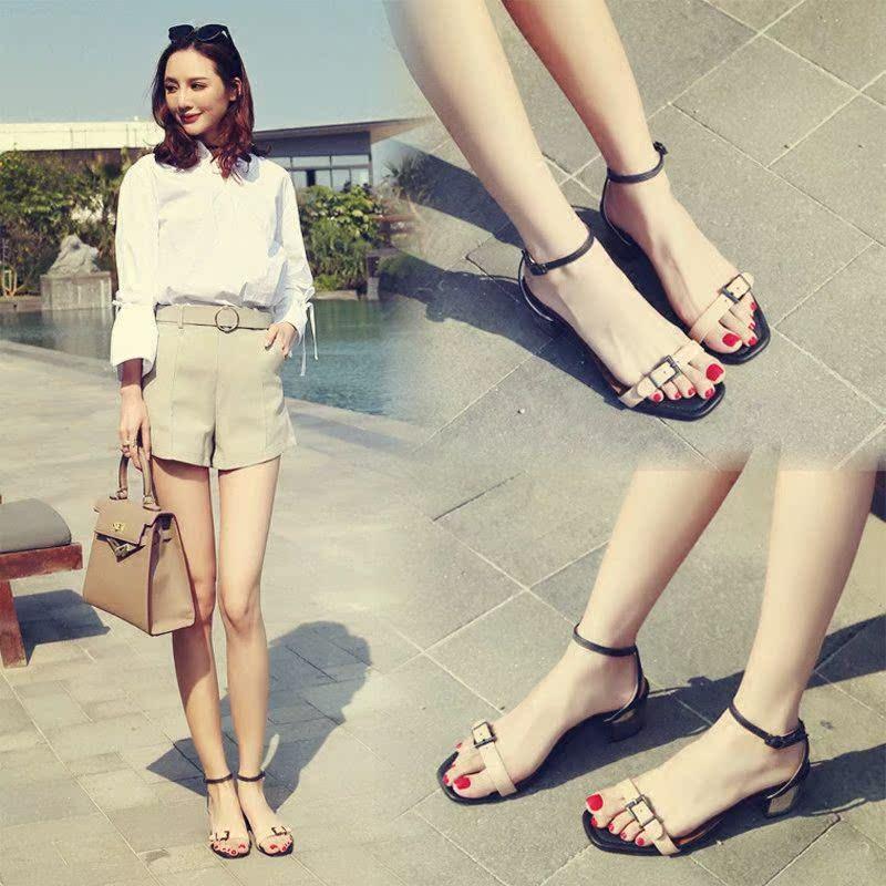 2019夏季新款韩版百搭网红粗跟一字扣凉鞋女中跟简约仙女罗马女鞋