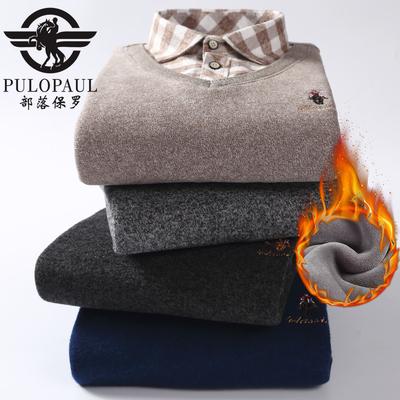 保罗秋冬加绒加厚保暖衬衫男中青年加肥带绒假两件针织衫套头毛衣