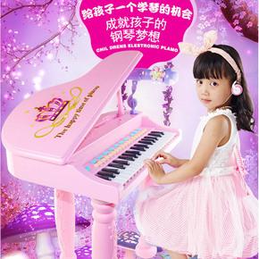 儿童电子琴37黑白键多功能女童早教琴女孩小钢琴带琴谱架3-6-8岁