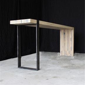 欧式复古实木做旧家用吧台桌北欧创意客厅隔断咖啡桌高脚桌墙餐桌