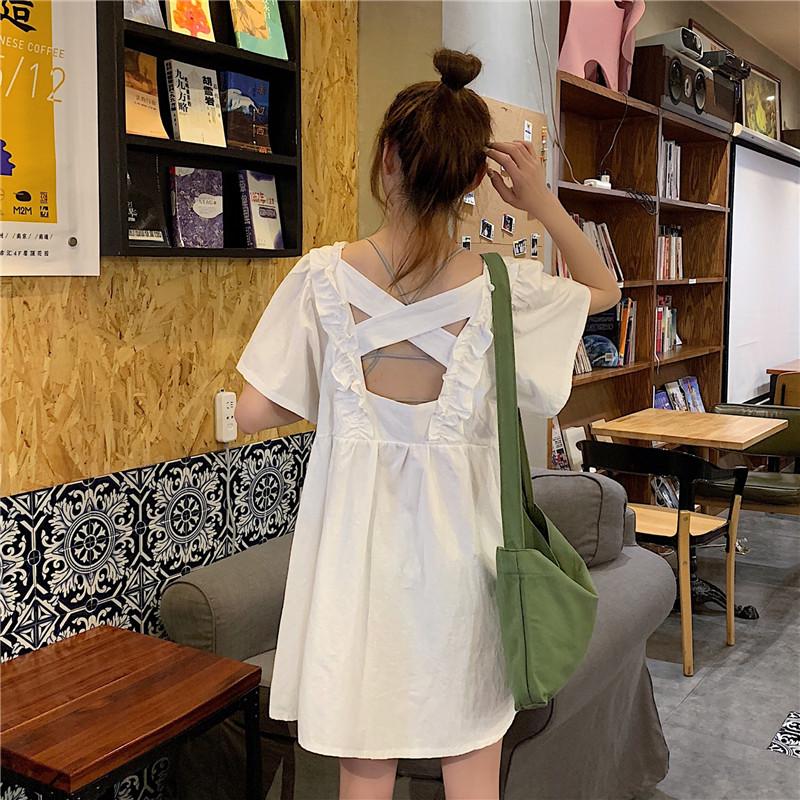 连衣裙2019新款夏季韩版裙子时尚女装减龄木耳边露背显瘦短袖洋气