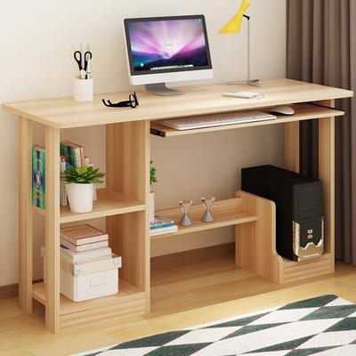 中学生书桌 台式电脑桌子家用 写字桌学习桌子 实木质简易带书架