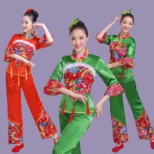 秧歌服2017新款中老年民族舞蹈演出服廣場腰鼓扇子古典服裝表演服