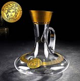 Czech import crystal decanter wine cooler wine pourer glass wineware with oblique hip flask