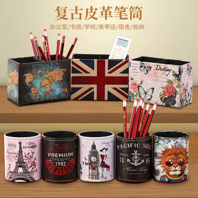 欧式笔筒复古创意时尚学生个性可爱学生韩国美甲北欧小清新收纳盒