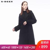 sdeer圣迪奥2018秋冬新款优雅侧边开衩腰带双面呢大衣女S18481827