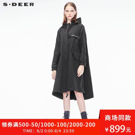 sdeer圣迪奥2019春装新款连帽韩版字母贴布A字风衣外套S18361860商品大图