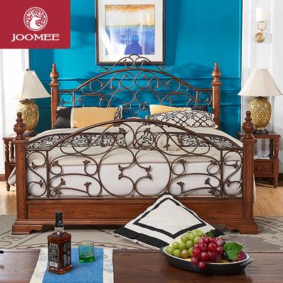 九美复古铁艺床欧式田园美式乡村铁架床卧室家具美国红橡木实木床