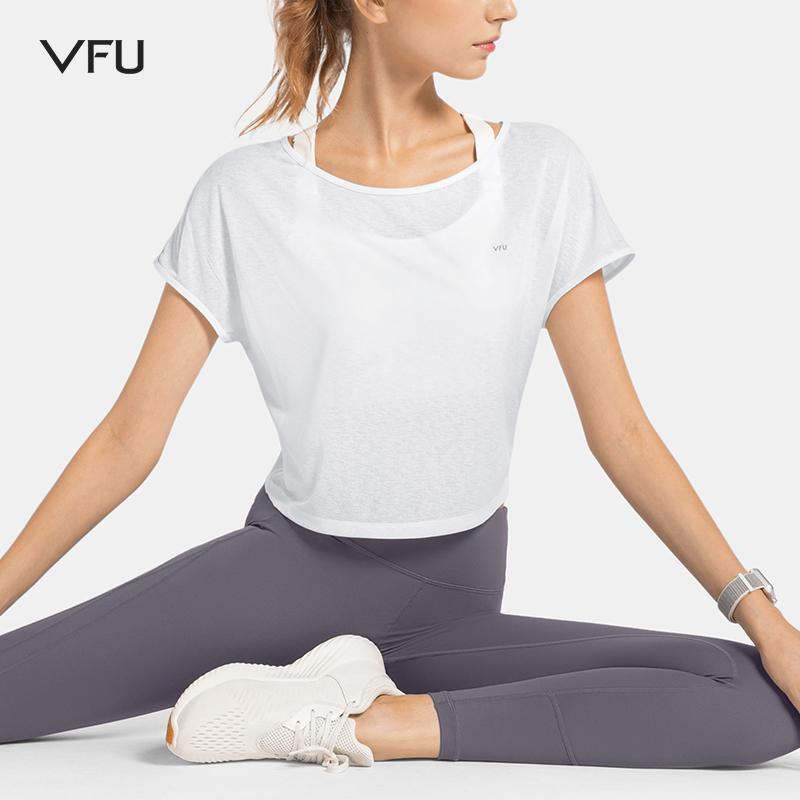 VFU宽松落肩运动t恤透气速干衣女跑步休闲健身服外穿短袖上衣夏季