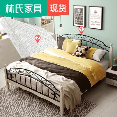 林氏家具简约铁艺床1.8米双人床成人卧室组合套装1.5铁床LS018TY3哪款好