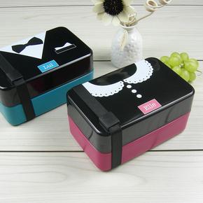 日式寿司盒便当盒 微波炉创意可爱学生午餐盒多层饭盒分隔 带叉勺