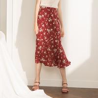 Meline红色碎花雪纺裙高腰鱼尾裙包臀裙2018夏新款中长款半身裙女