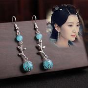 汉服耳环耳坠少女中国复古风长款 超仙宫廷公主风流苏古代古装