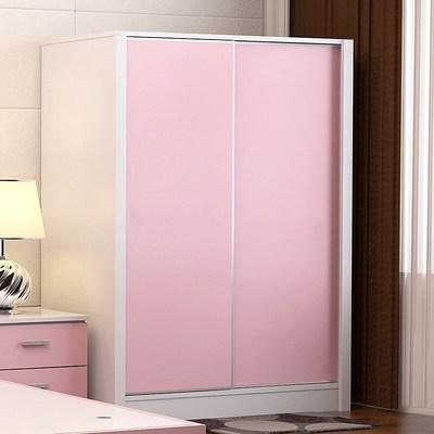 女生衣柜 卧室 少女ins实木衣儿童简易质大衣柜推拉门柜子板式移