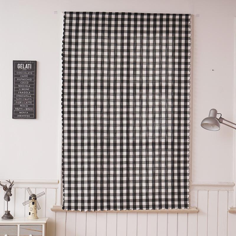 黑白格窗帘