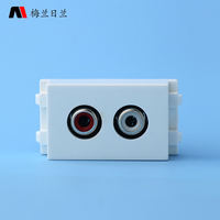 128 type ground plug and panel module Double hole audio soldering line red and white AV lotus jack multimedia image