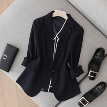 Convex jacquard-textured suit new seven-sleeve slim professional cotton and hemp suit thin jacket for women in summer