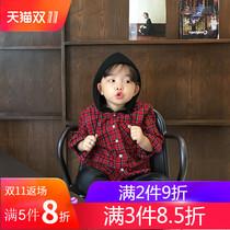 朗维熊儿童格子衬衫外套男童冬2018新款韩版中小童加绒加厚衬衣潮