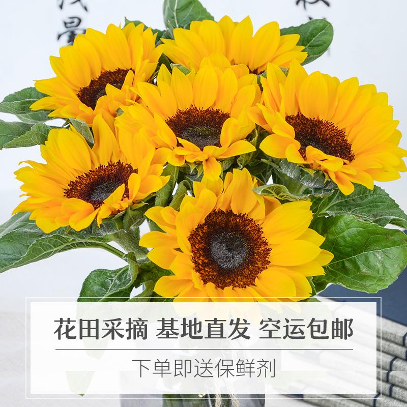 百合向日葵花束