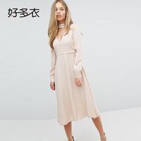 好多衣2018秋季新款女装 时尚甜美瑞丽V领系带长袖纯色连衣裙女