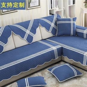 地中海蓝色布艺防滑纯棉沙发垫加宽加长坐垫四季沙发巾罩套新品