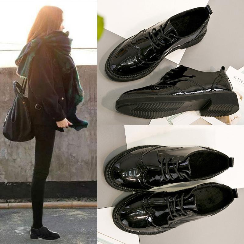 黑色小皮鞋女英伦风平底单鞋学生韩版百搭厚底复古系带布洛克女鞋