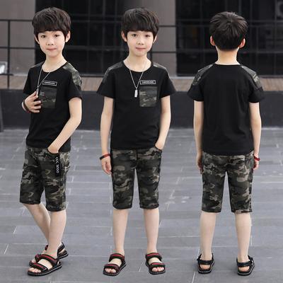 男童夏装套装三四五六七八九十岁小学生男孩迷彩男童短袖运动服装