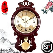 木质挂钟中式客厅钟表豪华复古怀旧中国风静音时钟钟摆石英钟包邮